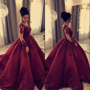 Elegant Quinceanera Dresses Applique Beaded Burgundy Evening Dresses Long Sleeves Satin Ball Gown Prom Dresses Vintage Party Gowns