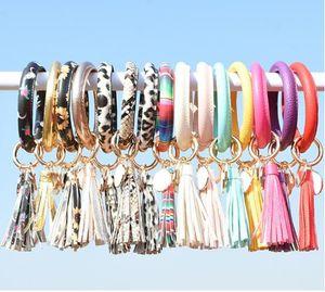 Donne nappe braccialetti in pelle PU in cuoio portachiavi in cuoio anello di giglio di leopardo stampa keychain wristband girasole gocciolamento antigoccia cerchio cerchio catene braccialetti e eapacket