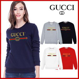 Womens дизайнер сезон письмо напечатанного длинный рукав свитер вокруг шеи случайного флиса рубашки женщин GUCCI