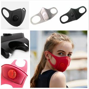Masque respiratoire Valve anti-poussière 2 couches unisexe stéréo respirant Lavable réutilisable bouche Couverture Soild Couleur Tissu Masques Coton LJJP152