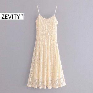 Zevity nouvelles femmes élégantes dentelle de spaghetti robe chic, côté midi femme manches écharpe vestidos robes de soirée zipper DS4168