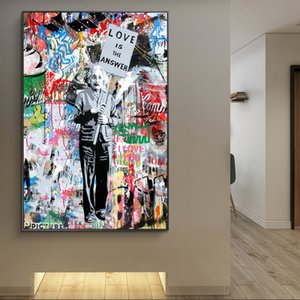 Love Is Answer Graffiti Art Canvas Paintings Portrait Of Einstein Street Art Posters And Prints Pop Art Canvas Pictures Cuadros