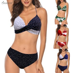 Sexy Women Push Up Padded Bra Tankini Halter Bikini Set Swimsuit Two Pieces Bathing Suit Swimwear Beachwear Lingerie 2020