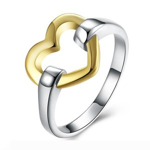 Fashion 925 Silver Plated Rings Jewelry Gold Heart Charms Women's Finger Rings Elegant Party Rings