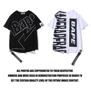 19SS fashion brand hip-hop lettered ribbon cotton printed casual couple short-sleeved T-shirt