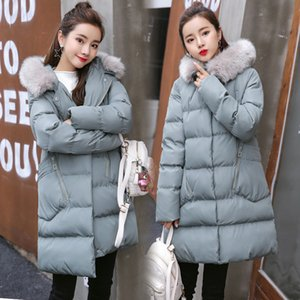 Pregnant Woman Cotton-padded Clothes Thick Long Maternity Coat Fur Collar Black Loose Hoodied Jacket L XL 2XL UOVO Pregnancy Top