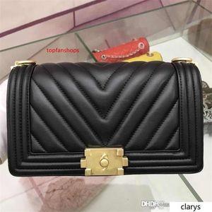 2020 Chevron Boy Old Medium Flap Bag Shoulder Bag Handbag Black Caviar 6104 Size:25*14.5*8cm