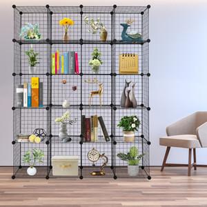 DIY Creative Magic Storage Cabinate Plast Carderbobe Bookfhelf Iron Mesh Shelf Комбинированная пленка