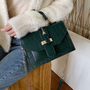SWDF New Stone Motif PU cuir solide Couleur Crossbody pour les femmes 2020 MINI chaîne d'épaule Messenger Bag Lady Sacs à main