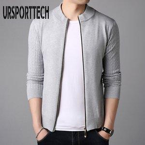 URSPORTTECH Autumn Men Casual Wool Jacquard Cardigan Sweater Men Winter Fashion Warm Soft Knit Outwear Coat Sweater Big Szie