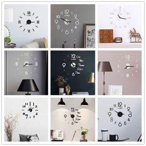 아크릴 벽 시계 DIY 거울 벽 시계 예술 아크릴 3D 미러 스티커 홈 오피스 장식 독특한 선물 DHD4