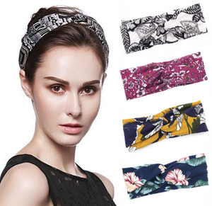 Ladies Sports Yoga Hairband 14 Colors Floral Cross Wide Side Hair Bands Big Girls Teens Girls Bohemian Beach Headwear Women Headbands Z1236