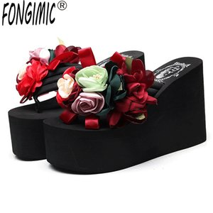 6cm-11cm High-heeled Summer Slippers Bohemia Flowers Thick-soled Flip-flops Slip-proof Muffin Beach Shoes Beach Sandals Slippers Y200706