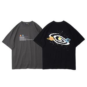 Estate 2020 Hop maglietta degli uomini di Hip Streetwear Planet Stampa T-shirt manica corta in cotone Harajuku maglietta nera supera i T HipHop allentato