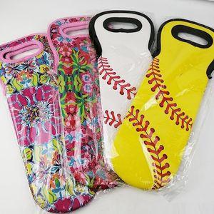 Titular Blanks Neoprene Case variado Design Vinho Tote portador da bola Pattern Bottle Titular Cooler Bag