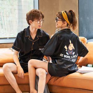 2020 nuovi pigiami paio di uomini e donne di stagione studenti seta sottile pigiama e ghiaccio seta fumetto coreano vestiti a casa insieme