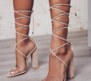 2020 New High-Heeled 6-8CM Straps Thick-Heeled Large Size Crystal Clear Sandals Wedding Shoes Sexy Brand Shoes 34-43