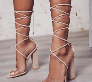 2020 nuovo tacco alto 6-8cm cinghie Thick-tacco Large Size scarpe da sposa Crystal Clear sandali sexy scarpe di marca 34-43