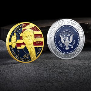Trump Hatıra Para Başkanı Trump'ın Boya Medallion Demir Baykuş-Baskılı Para Tahsil Koleksiyonu Hediye Ev Decorati DHE417