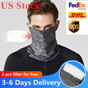 US Stock Cycling Face Mask avec PM2,5 Filtre écharpe Bandana Anti-poussière plein air Pêche à la ligne Courir DHL Livraison Sunscreen Echarpes