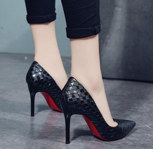 Europe Sexy Women Shoes Red Bottom High Heels Pumps Spring Autumn 2019 New Pointed Thin Heels Slip-on Shoes Woman Party Shoes