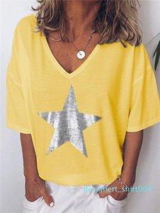 Tees Star Print V Neck Designer Womens Tshirts Summer Loose Short Sleeve Ladies Sexy Tops Female d04