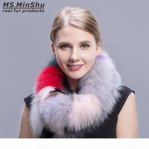 Inverno della pelliccia di Fox scaldacollo variopinto di modo della pelliccia di Fox sciarpa multicolore di modo di Fox collare femminile Fur Sciarpe Ms.MinShu
