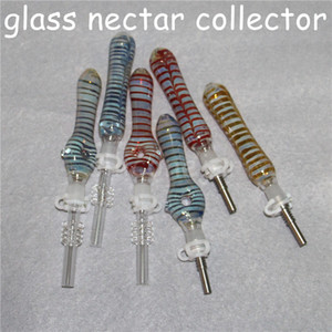 10mm Joint Mini Nectar Collector Kit Micro NC Kits Glass Smoking Dab Straw Nector Collectors With Titanium Quartz Tips