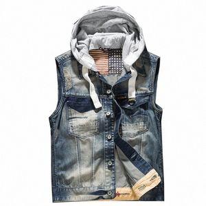 'homens com capuz Denim Vest Male Plus Size Casual Jeans Vest 2018 Nova Alta Qualidade Retro mangas Denim Jacke z9cu #