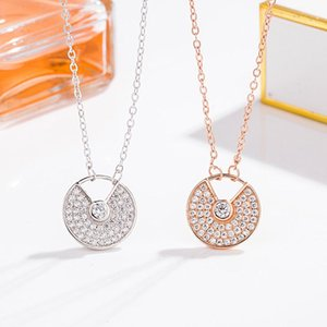 Wind S925 sterling silver micro inlaid Diamond Card home round necklace female temperament all-match choker pendant