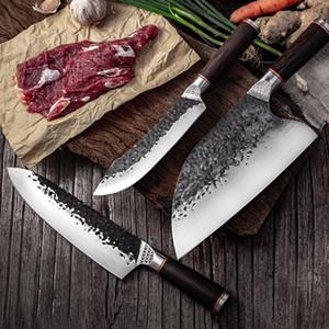 Высокоуглеродистой стали Нож поварской Clad кованой стали обвалки Нарезные Мясник Ножи кухонные Мясо Кливер кухни Убой нож оптом