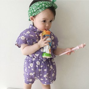 Summer 2020 New Baby Girl Outfit Korean Baby Clothes Cotton Flower set Infant Daisy Short Sleeve Shirt And Plaid Pants 2PCS