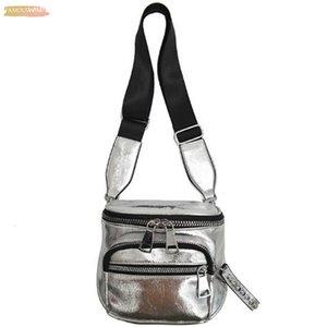 New Korean Fashion Solid Color Shoulder Messenger Bag Wide Shoulder Strap Bucket Pu Handbag Silver