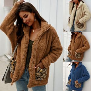 Designer Original-Pelz-Kleidung Femme Herbst-Winter-Thick Frauen Art und Weise Pullover Top-Wrap Wolle Cardigan mit Schalmanteljacke warmen Leopard lässig