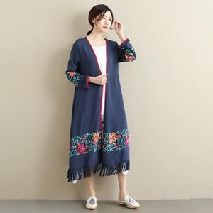 PBZSH ethnische Nationalität Stickerei Nationalität Stil Quaste langer Mantel mit vorzüglichem gestickte Licht atmungs Mantel weiblichen ethnischen Stil