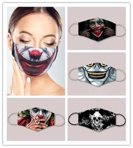 New Fashion Designer Joker Squelette 3D imprimé Masques visage pour adultes et enfants Cosply Holloween Party Accessoire Bouche Housse lavable réutilisable