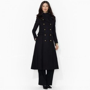 Autumn new women's fashion fashion suit collar double-breasted long en Coat wool Wool coat female