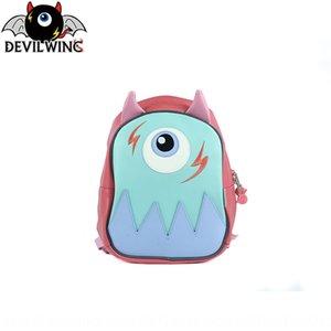 devilwing Kore Little Devil anaokulu okul çantası yumurta şeklinde Pu karikatür çocuk Bag sırt çantası sırt çantası çocuklar için basılmış