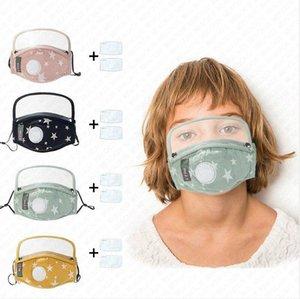 Designer Máscaras PM2.5 Cotton respiro válvula Crianças rosto cheio com filtros de máscara contra pó Breathability Rapazes Raparigas Rosto destacável tampa D71506