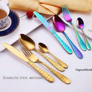Stainless Steel Gold-plated Water Cube Series Hotel Western 4 pcs Set Tableware Spoon Fork Knife Dinner Forks Teaspoons Flatware DH0499 T03