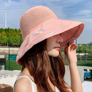 Summer new knitted top stitching fisherman hat solid color wild daisy basin hat Taobao net red big eaves sun hat Travel Bucket