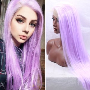 Fashion Style Glueless Synthetic Lace Front Wig Cosplay Light Purple Long Straight Synthetic Hair Wigs for Black Women