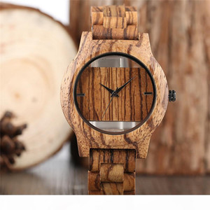 YISUYA Creative Sport Casual creux Analog Bois Rectangles bambou fait main unique en bois Mode Hommes + bracelet à quartz Sacs cadeaux