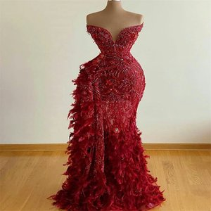 2020 Red Gorgeous Evening Dresses Sweetheart Beaded Feather Appliqued Mermaid Prom Dress Arabic Dubai Custom Made Backless Formal Gowns