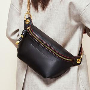 MAHEU Ins bolsas de mujer de estilo de moda caliente de Corea del verdadero riñoneras de cuero bolsa de viaje para el deporte al aire libre para damas niñas cintura bolsa MX200717