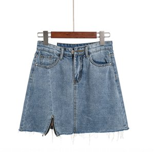 2020 new Korean style bag hip A- LINE denim skirt denim skirt washed old irregular fashion A- line dress