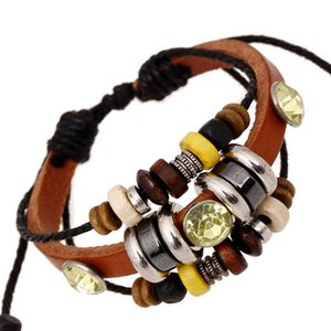 New Style Fashion Charms Bracelets Inlaid Yellow Rhinestone Beaded Leather Infinity Multi-layer Bracelets For Men Jewelry ps0825