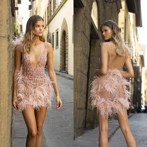 2020 Berta Prom Dresses Sexy See Through Sequins Beaded Feather Evening Gowns Spaghetti Straps Mini Pink Short Special Occasion Dress