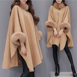 Women Capes Cloak Fur Neck Design Womens Winter Clothing Outerwear Tops Loose Fashion Coats Capes Ladies Wool Blends Coats S-3XL
