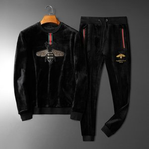 xshfbcl High-grade Leisure Suede Embroidery Two-piece Men's Fleece Thickening Male Korean Gold Sequined Leisure Suit Small Bee